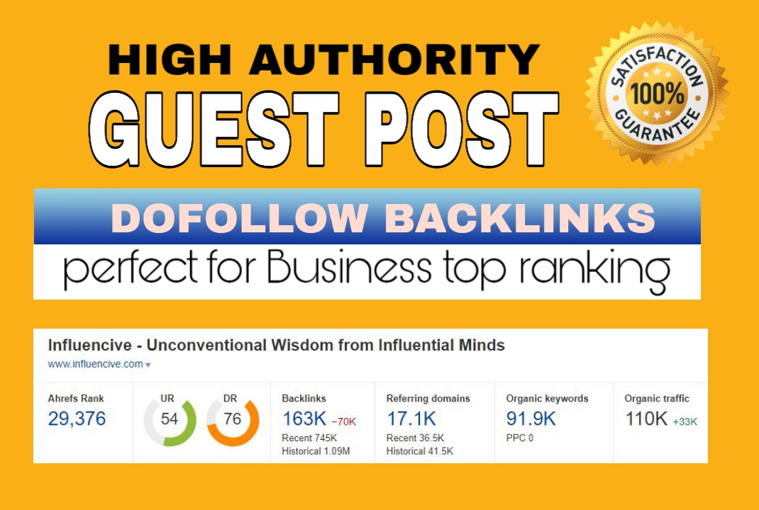 I will provide high authority backlinks guest posts SEO friendly