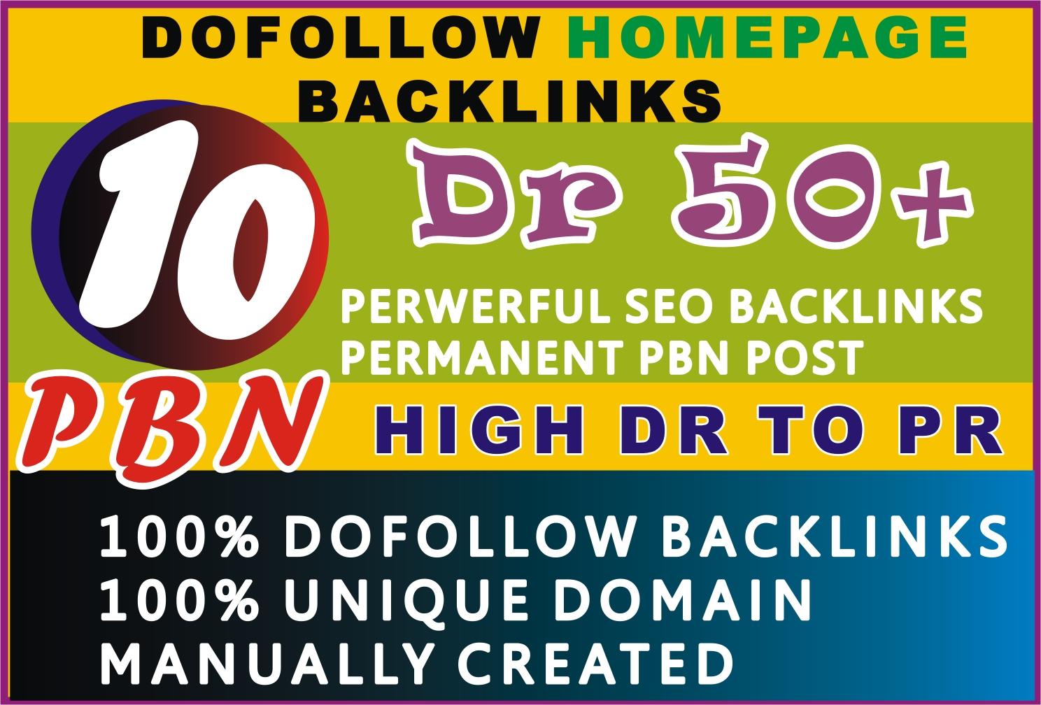 I will make unique 10 pbn dofollow permanent homepage backlinks
