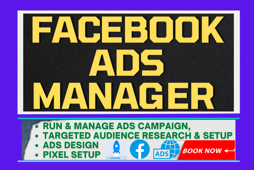 I will be your facebook ads manager to promote your business