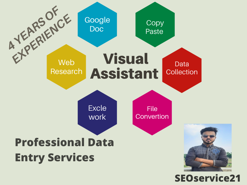 I will be your virtual assistant for data entry,  typing,  and copy paste jobs