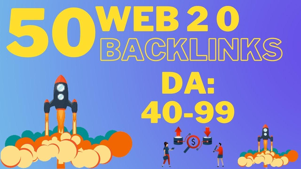 Manually Build 50 web 2 0 backlinks for google ranking