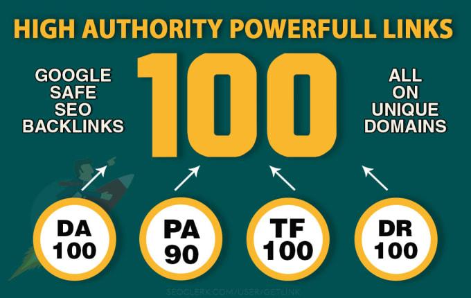 build 100 unique domain SEO backlinks on tf100 da100 dr100 sites