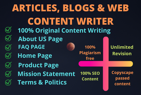 """I""""ll write 1000 words of SEO optimized content for your blog or website"""
