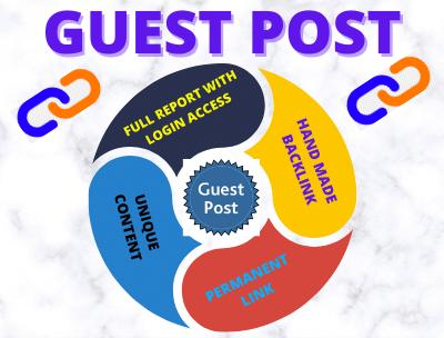 Write and Publish 10 guest post unique article High DA permanent backlinks