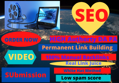 20 Video Submission high authority high da permeant backliks unique link building