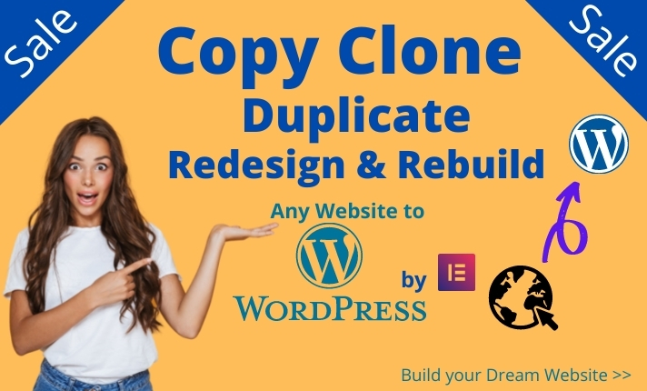 I will copy, clone, duplicate, redesign any website to WordPress by using elementor