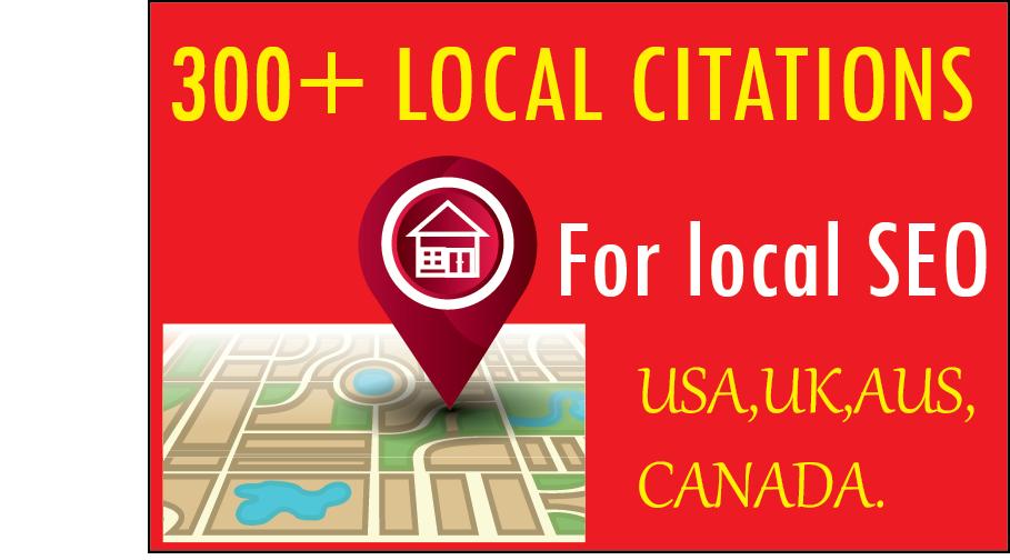 I will do 300 USA, UK, AUS, CANADA local citations for local seo