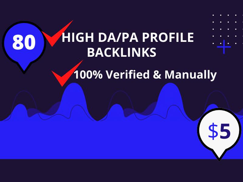 I will provide 80 high quality profile backlinks manually