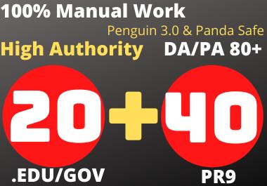 Dofollow 20 Edu/gov+40 Pr9 High Authority Profile Backlinks
