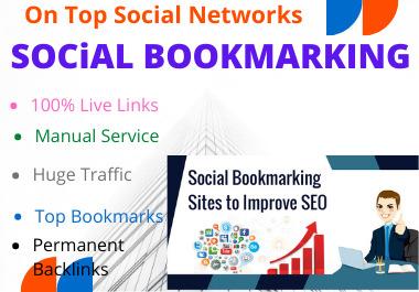 I will do 80 social bookmarking manually dofollow backlinks high authority with DA PA website