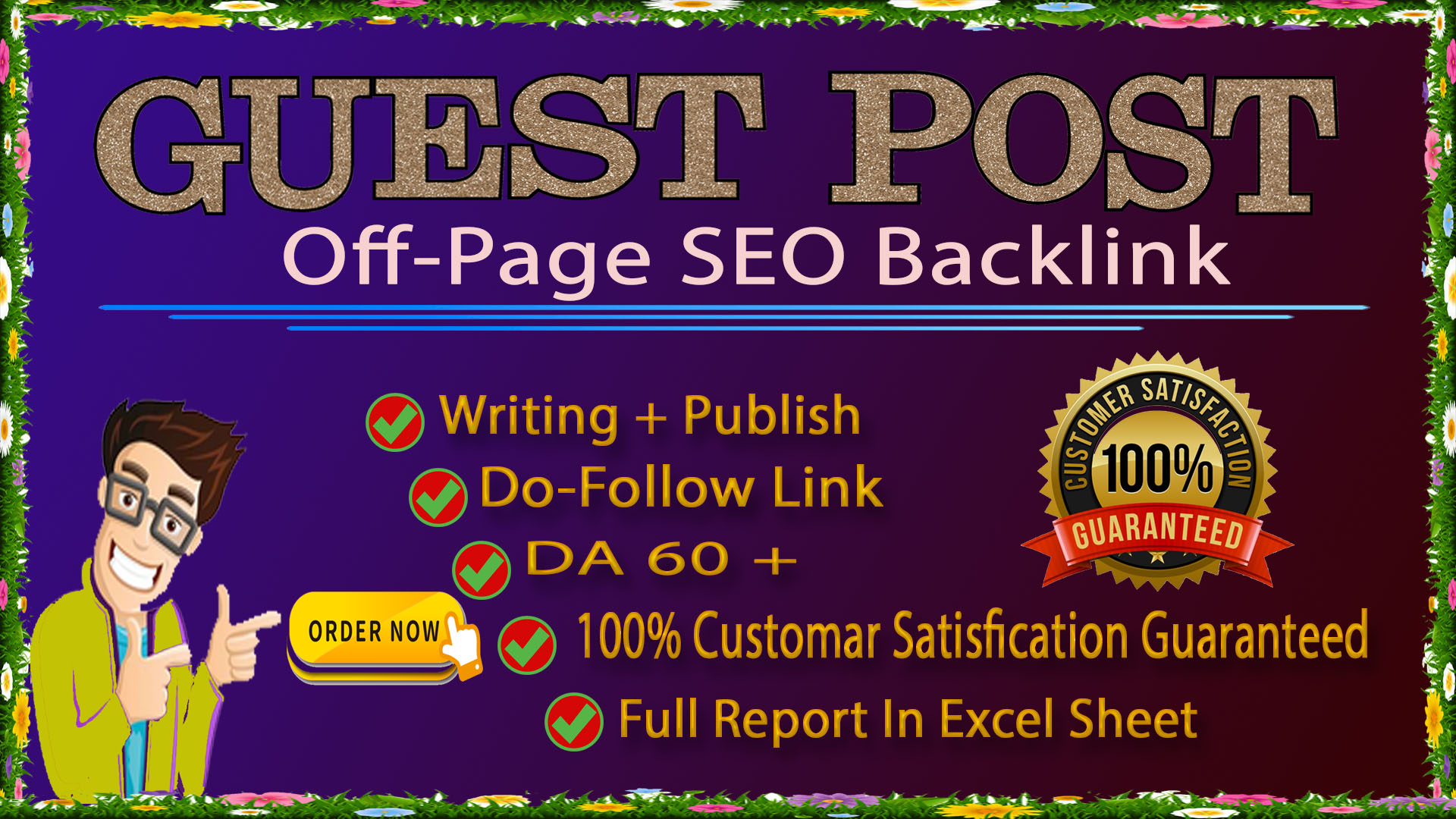 I will write articles 450+ words and publish 10 guest post on da 20-80 google site SEO Backlinks