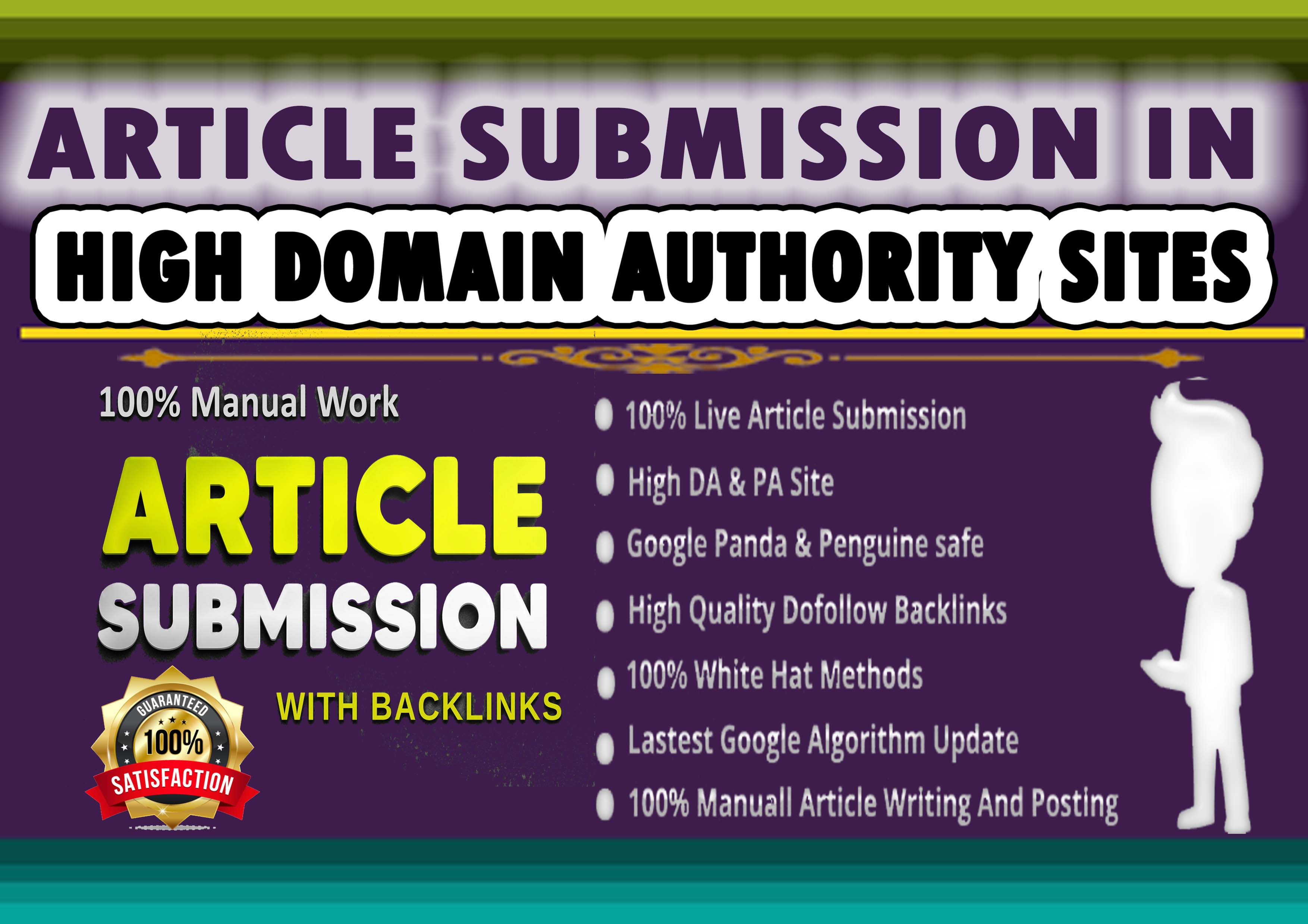 I Will Manually Submit Article 100 HQ Article Submission Website & Approved Link Report In 24 h