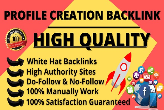 I will Provide 100+ High Authority White Hat Profile Creation Backlinks,  Link Building