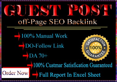 15 High quality Guest Post SEO Backlink with Dofollow links DA-70,  PA-60 Plus