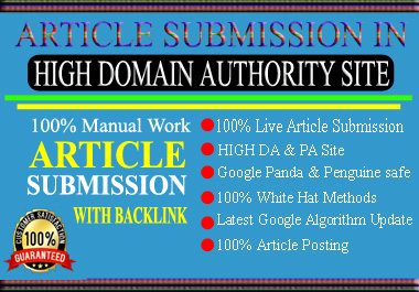 I Will build 50+ high quality seo backlinks from article submission. Get 100 lives links