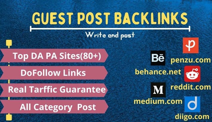 I will write and publish 5 guest post dofollow backlinks on high DA 70+ sites