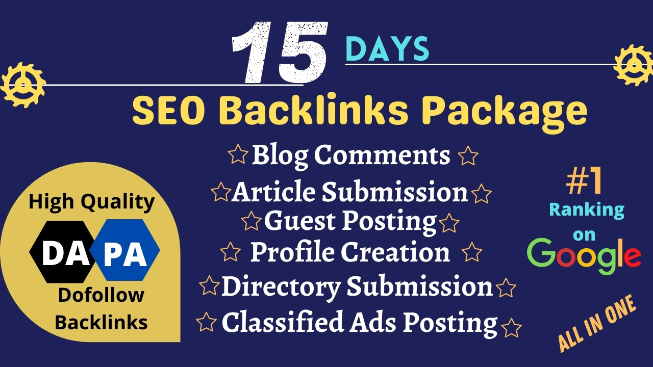 I will Provide 15 days complete off page seo backlinks package to ranking your website on Google