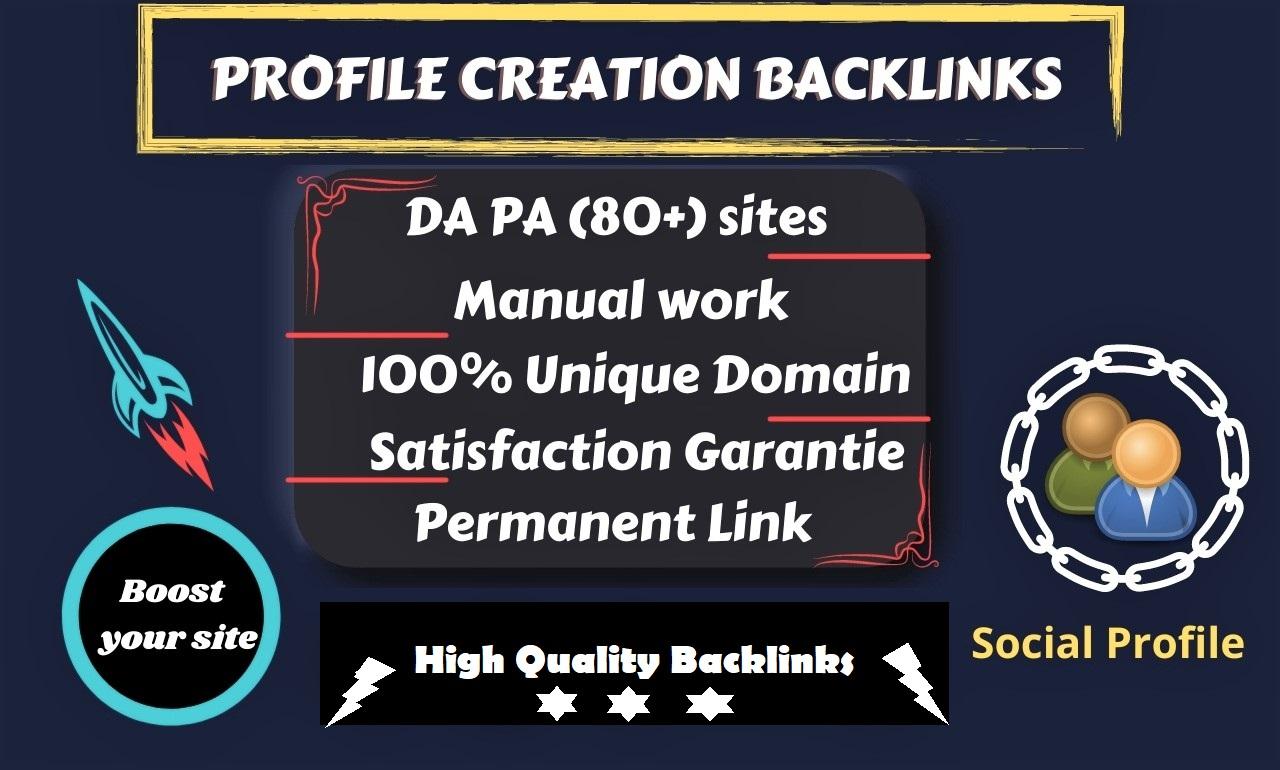 I will do 50 High quality social profile creation backlinks