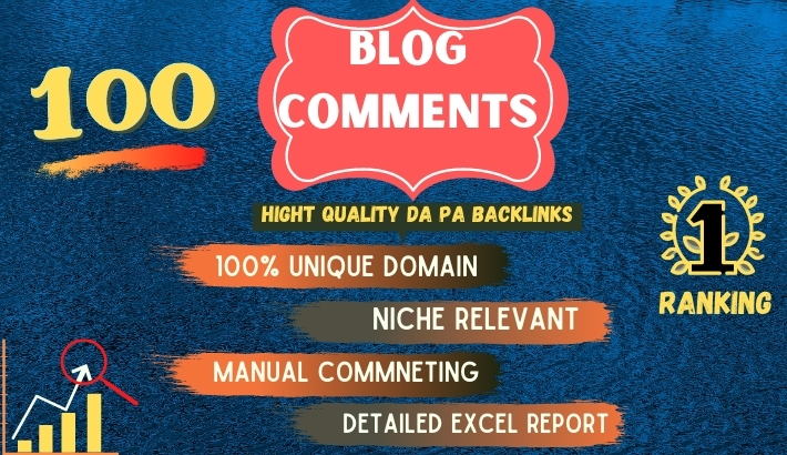 I will provide 100 high quality dofollow blog comments backlinks on 80+ DA sites