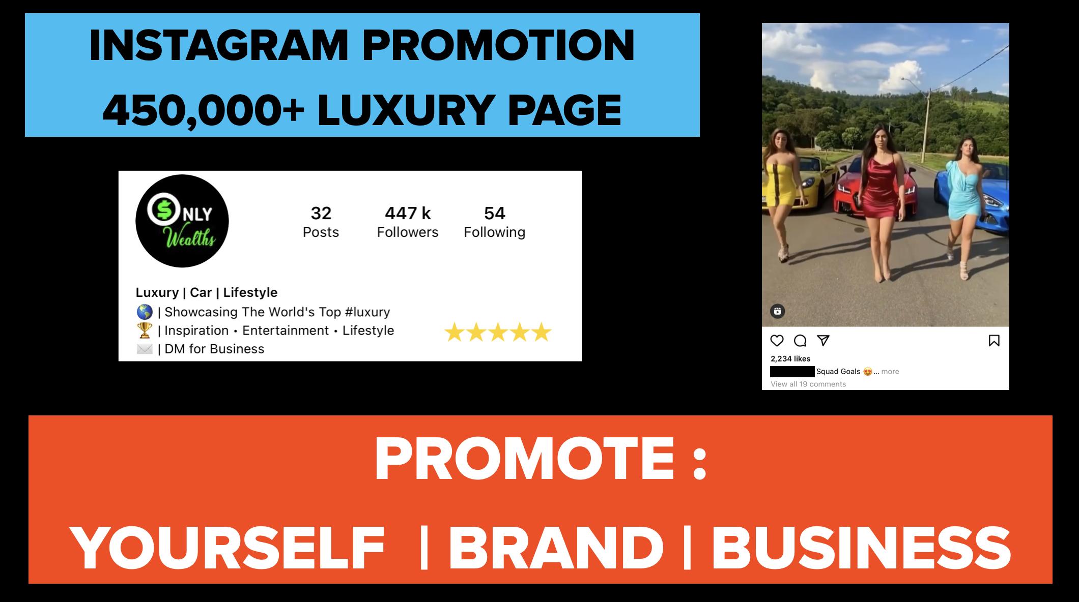 IG Promotion on share on 450k luxury IG Page
