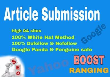I Will Provide 20 unique Article Submission Backlinks on DA 70+