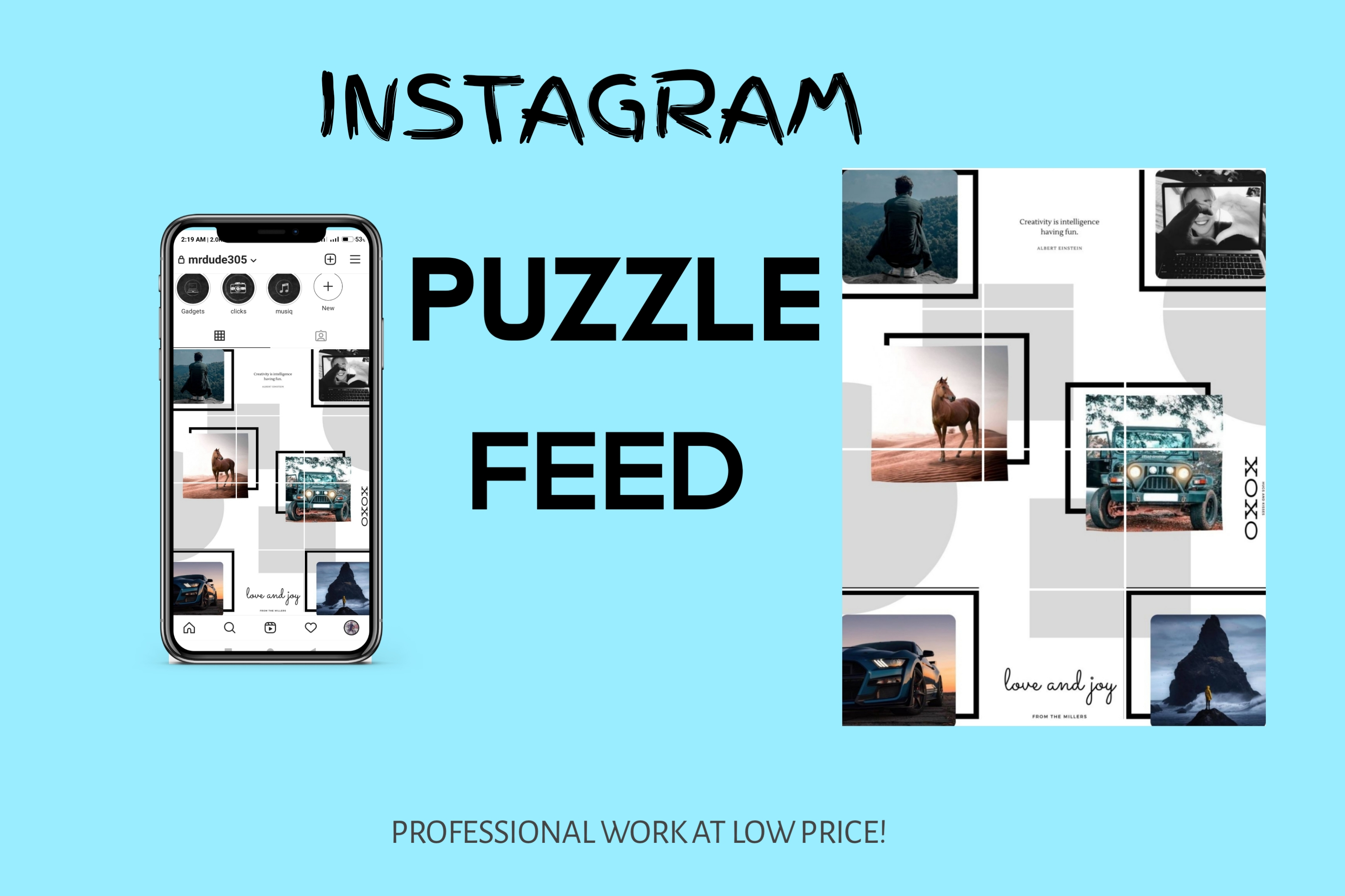 I will create stunning instagram puzzle feed with your 6 images