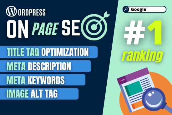 I will provide wordpress on page SEO optimization services