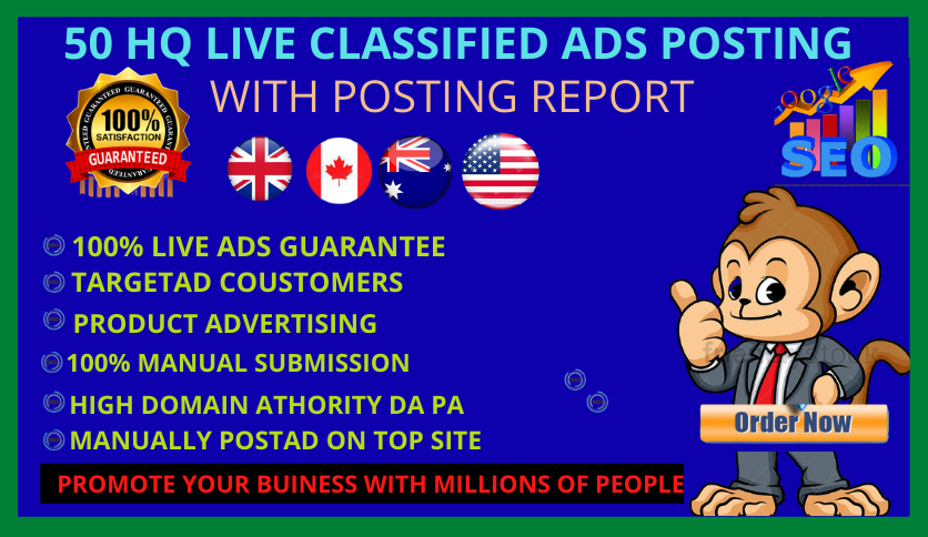 I will Post Your Ad 50 Top High Authority Classified Ads Posting backlink on top ranking