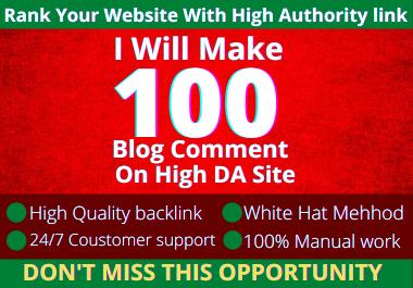 I will make 100 Blog Comments on High DA site
