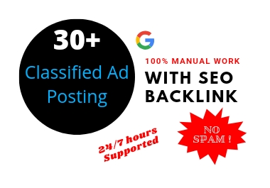 I Will Creation 30+ Classified ad posting Backlink Created For SEO Ranking