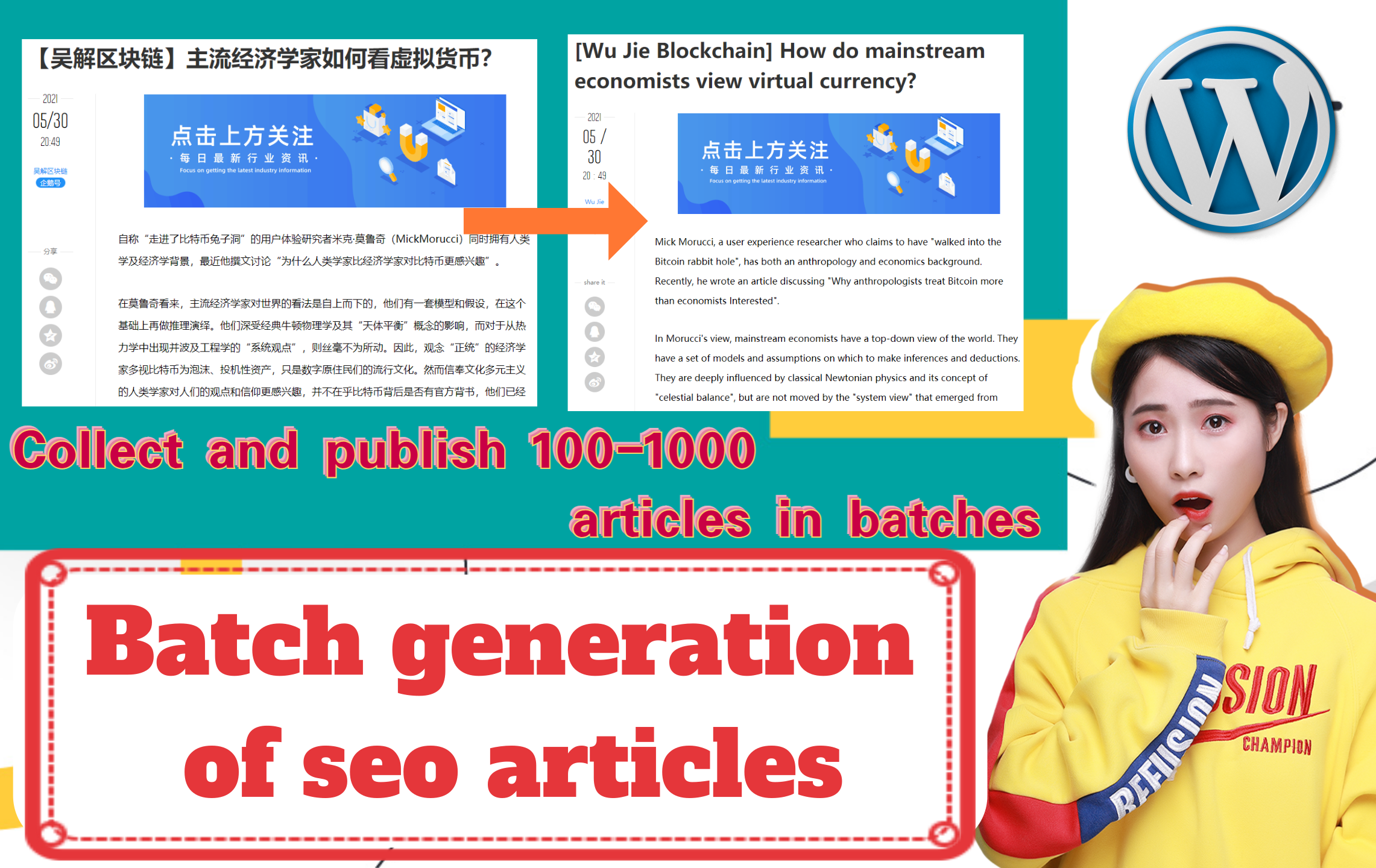 I will collect 100 web articles in batches and post them to your wordpress