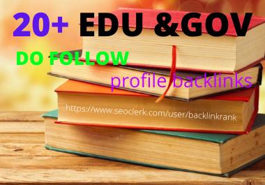 I will create 20+ EDU. GOV Profile backlinks All Unique domains