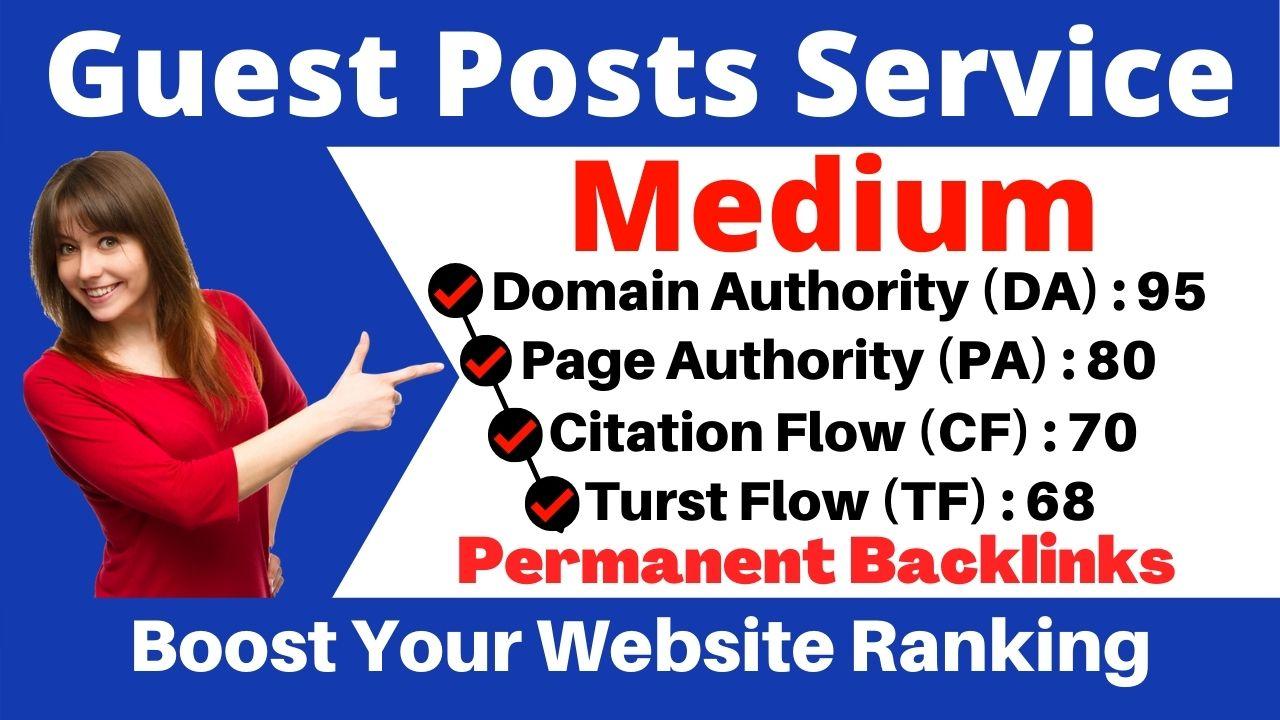 Write and publish DA 99 PA 95 guest Blog post On Medium-high trust follow sites Backlinks
