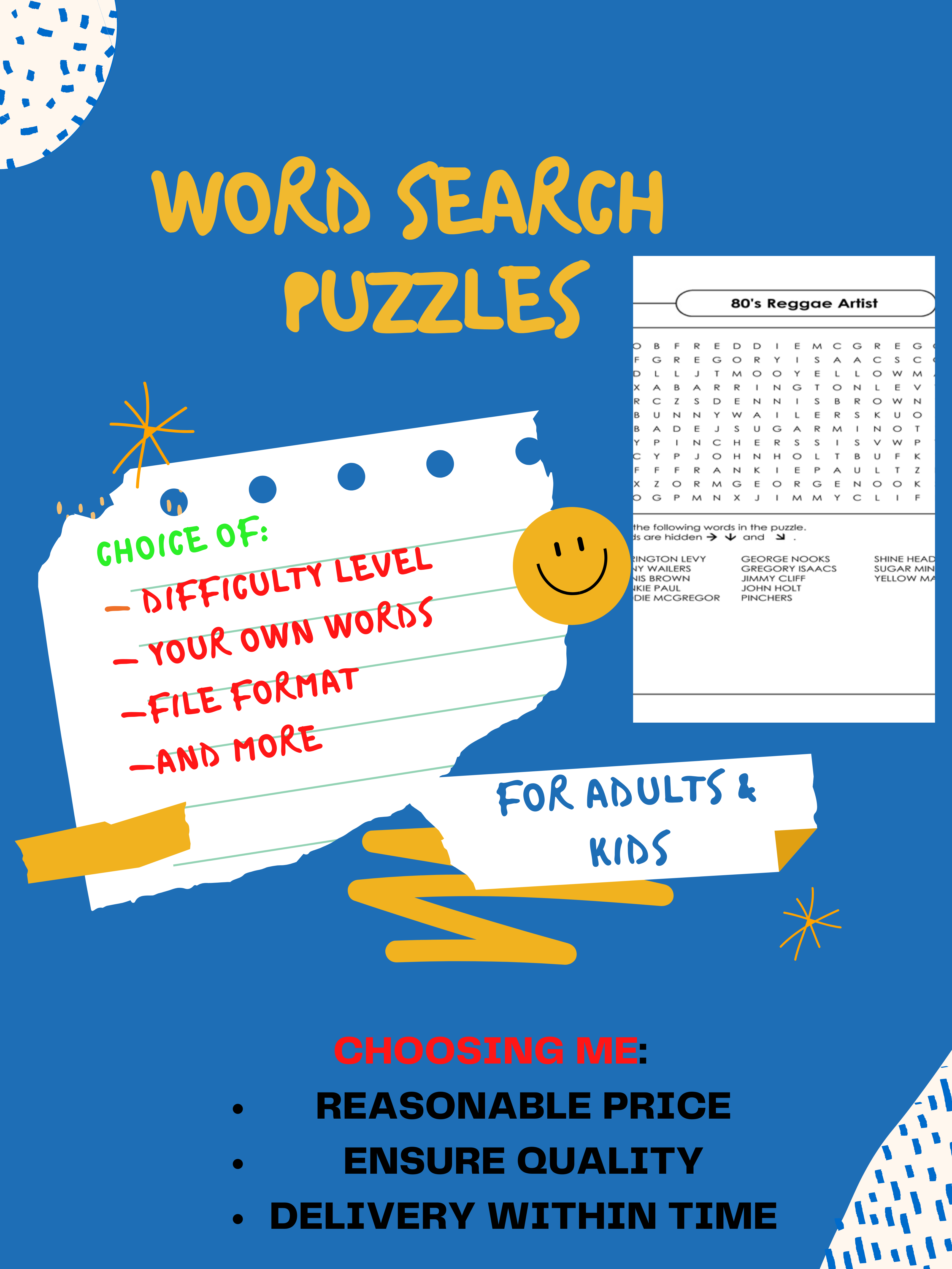 Will Create Custom Word Search Puzzles With Solutions