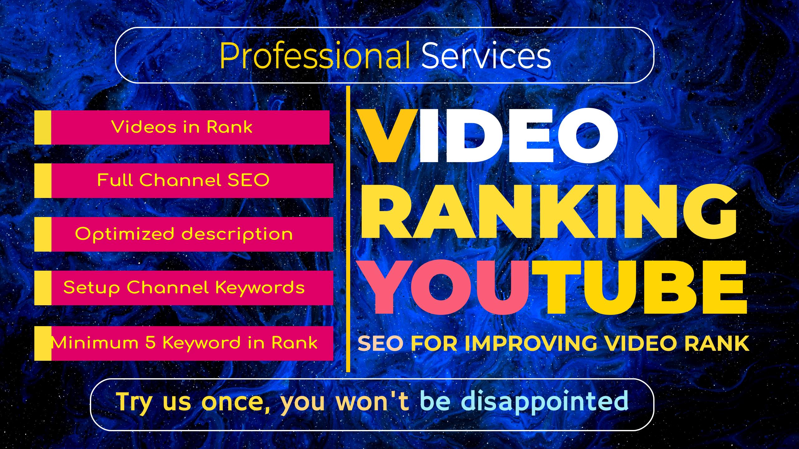 I will do organic youtube video SEO to improve ranking