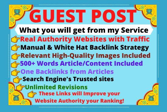I will provide 30 guest posts on da 60to90+ websites with dofollow backlinks