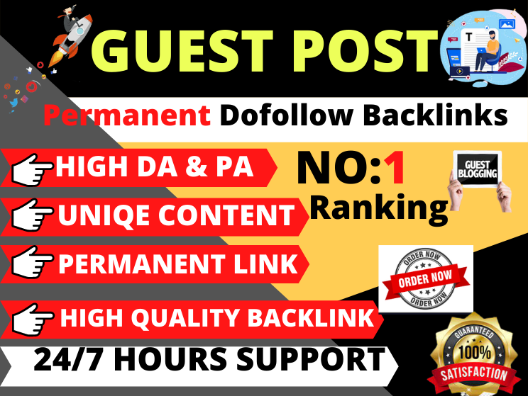 10 Write and Publish Guest Post on high DA Unique backlinks Contextual link building