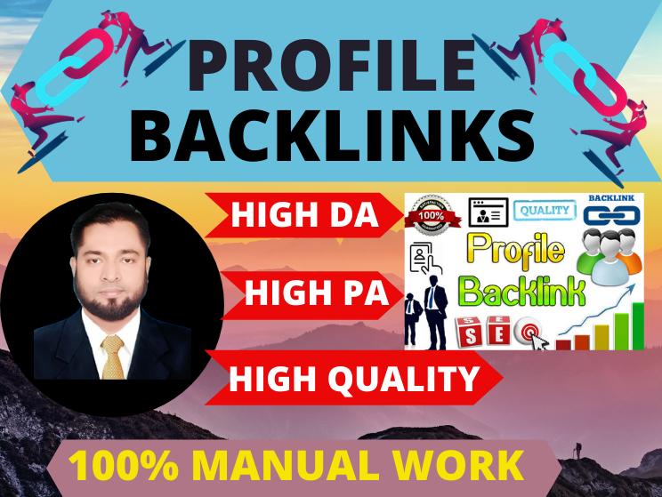 100 Manual 20 Profile Backlinks high authority permanent high da link building