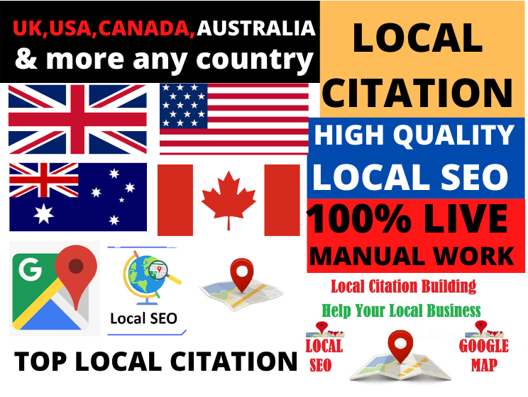 High Quality manual 50 local citations for any country and directory submission for business ranking