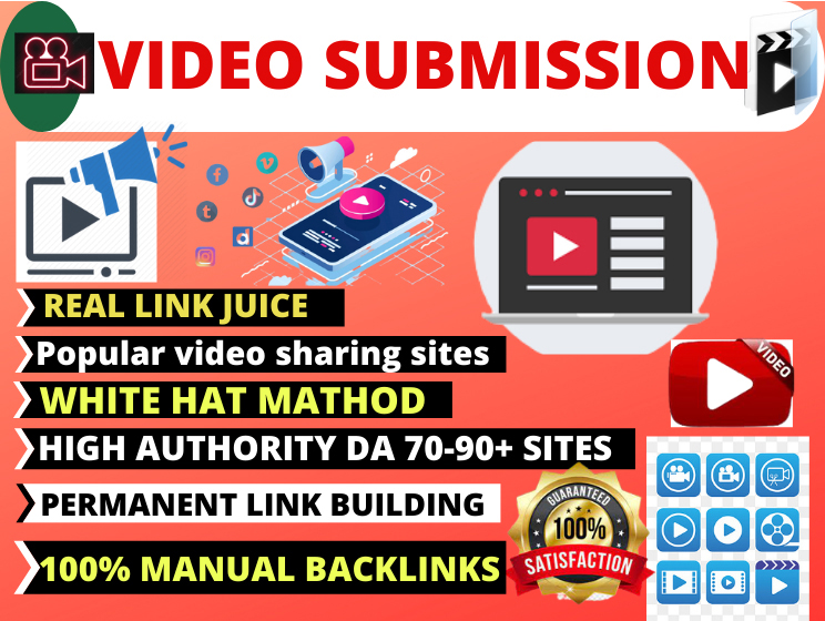 I will provide 80 manual video submission or upload to popular 80 video sharing sites