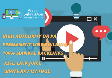 20 Video Submission high authority high da permeant backliks unique link building.