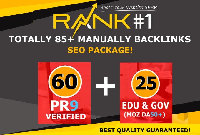 manually do 85 edu gov and pr9 high authority SEO backlinks for google ranking