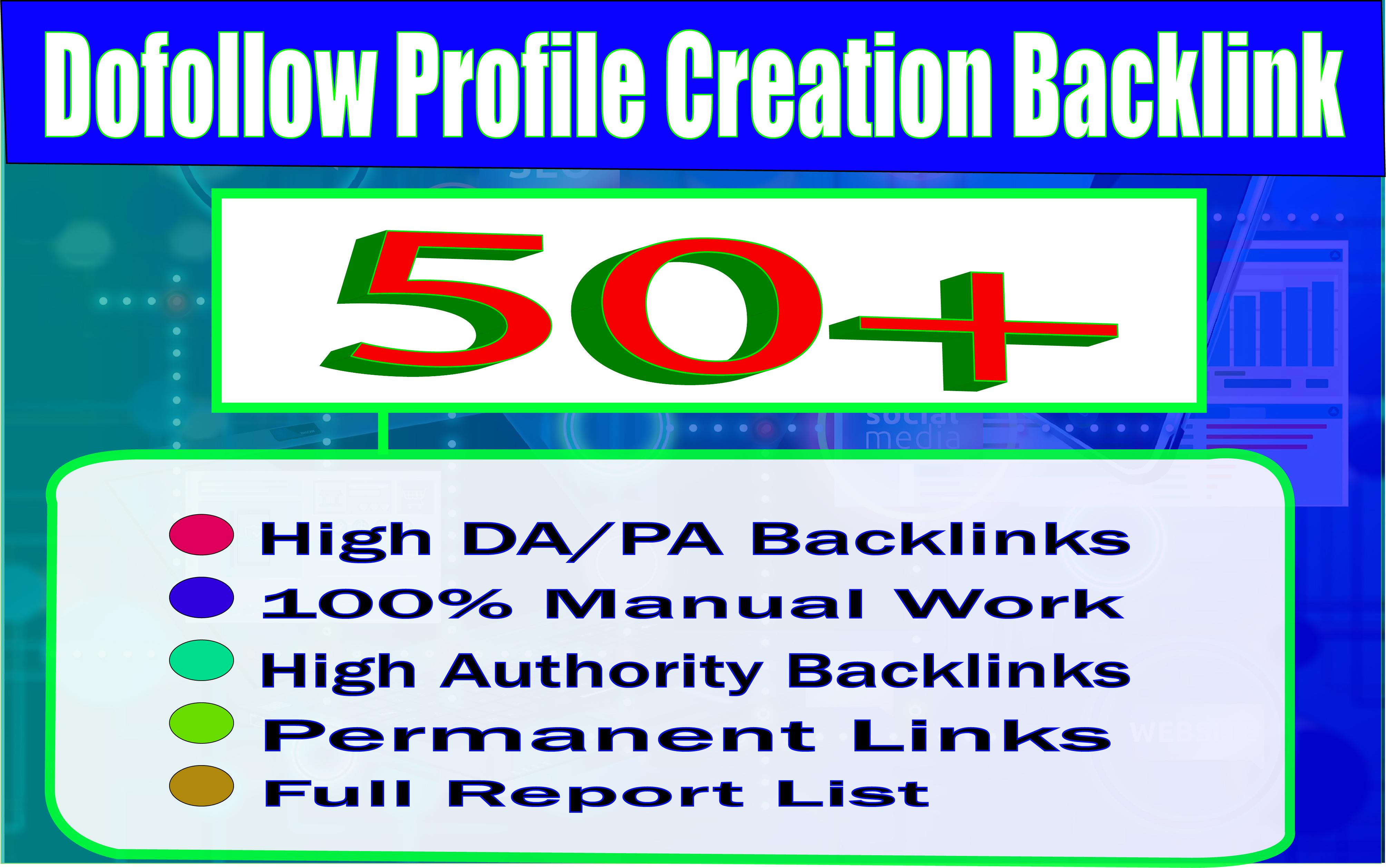 I will create 50 high DA 80+ & PA 80+ full Dofollow PR9 Profile Backlinks