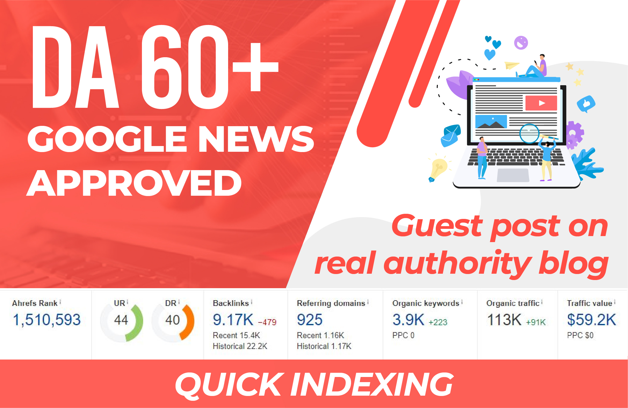 Write and publish guest post on da 60+ google news site dofollow link