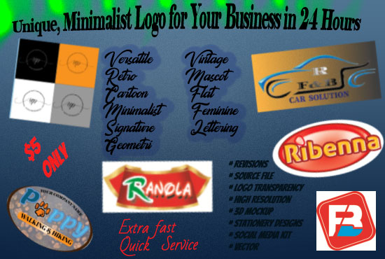 I do unique,  minimalist logo,  Flyers,  Re- touching Photos,  for your business.
