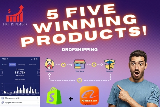 Will Get You 5 Wining Products For your Shopify Store for dropshipping