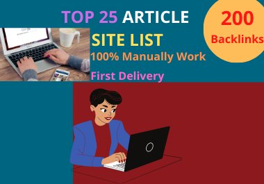 I will build 30 article submission backlinks to rank high