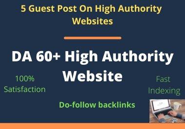 I Will Do 5 Guest Post SEO Backlinks Do-Follow Link Which DA 60 Plus