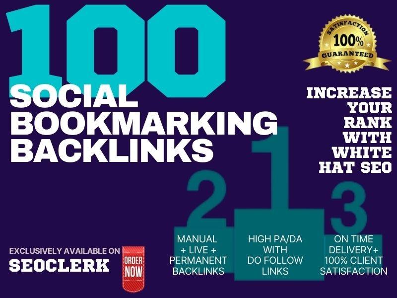 I will Provide 100 High DA,  PA,  & PR Social Bookmarking Backlink Services
