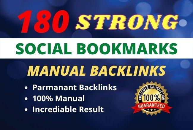 I will create 180 social bookmark backlinks manually